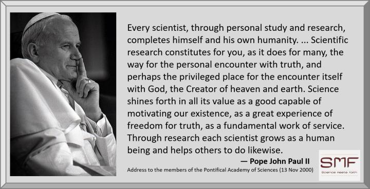 Pope John Paul II on Scientists growing in faith 13 Nov 2000