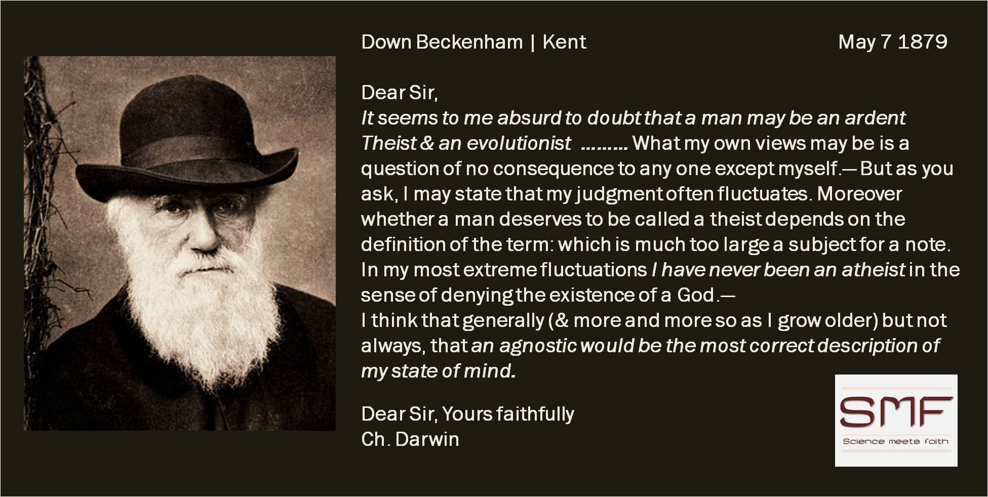 Charles Darwin an agnostic 07 May 1879